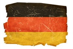 Germany Flag old, isolated on white background.