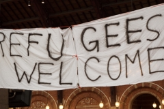 Handmade Banner Refugees Welcome